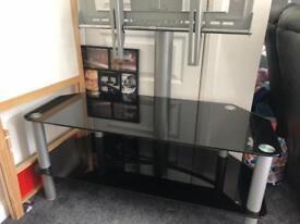 Black glass stand with tv bracket