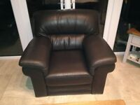 Leather arm chair brown