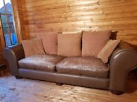 FREE 3 seater leather sofa, brown,worn but comfy
