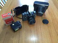 Zenit EM Camera set, vintage, original, includes case & flash