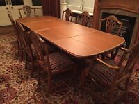 Beautiful Sheraton-style mahogany dining room furniture - lovingly cared for - excellent condition.