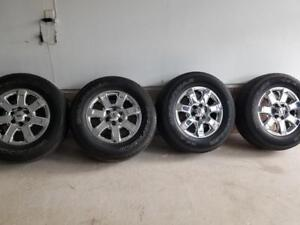 LIKE BRAND NEW 2015 FORD F150 18 INCH CHROME CLAD ALLOY WHEELS WITH GOODYEAR WRANGLER  275 / 65  / 18 ALL SEASON TIRES