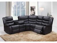Lucas Black Faux Leather (PU) Corner Recliner Sofa Suite BRAND NEW