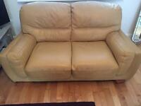 Lovely tan two seater leather sofa VGC - £75
