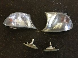 BMW E46 Coupe Convertible Compact Clear Front Indicator Lenses Side Repeators