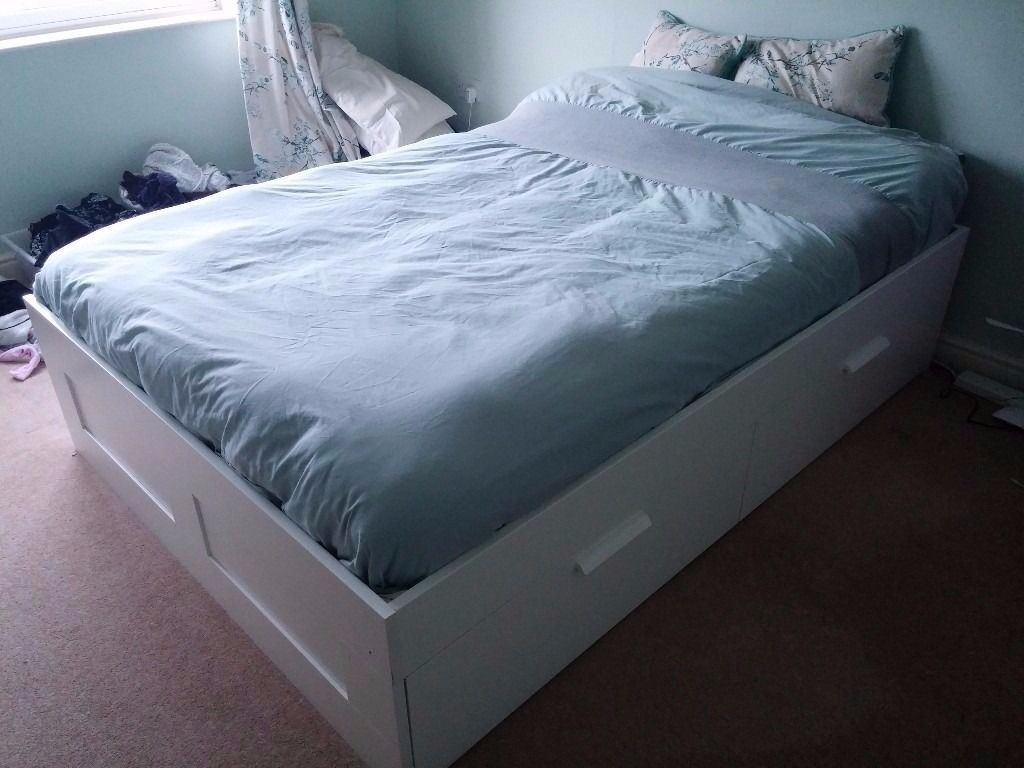 ikea brimnes double bed frame with storage 4 large drawers new