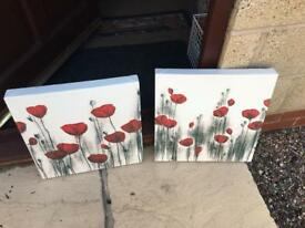 Two poppy canvases.