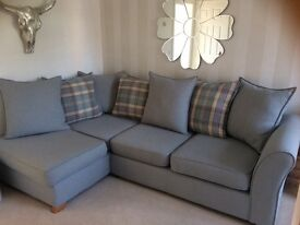 Corner sofa with matching footstool DFS Jasper Blue