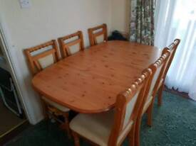 Dining table and 6 chairs solid pine