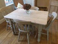 Painted Pine Farmhouse Table & Chairs