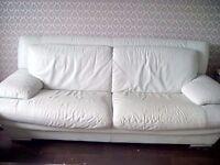 Cream leather 321 modern sofa
