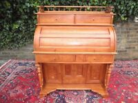 BEAUTIFUL VINTAGE FRENCH MARQUETRY INLAID ROLL TOP SHUTTER DESK LOTS DRAWERS SOLID & HEAVY QUALITY
