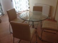 Dining table and 4 cream leather padded chairs - NOW SOLD