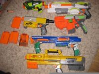 Six Nerf Guns including Nerf Modulus, Raider, Deploy etc