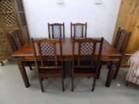 Beautiful Rustic Solid Sheesham Jali Dining Table 6 Chairs