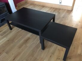 Two black IKEA coffee tables (large & small)