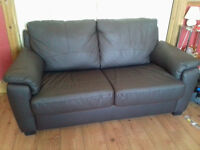 Brown leather sofa-bed, metal frame
