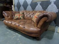 Stunning Chesterfield Tetrad Oskar Large 2 Seater Sofa Tan Leather - UK Delivery