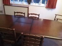 Priory refectory table and chairs