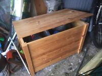 Pine storage box approximately size 27x 16 x 18 inches deep good condition