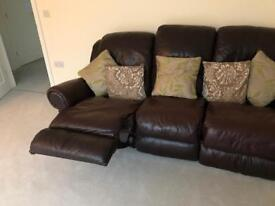 Genuine Leather chocolate brown three seater reclining sofa!!