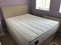 Nearly New King Size Bed including Sealy Airsrpung Mattress
