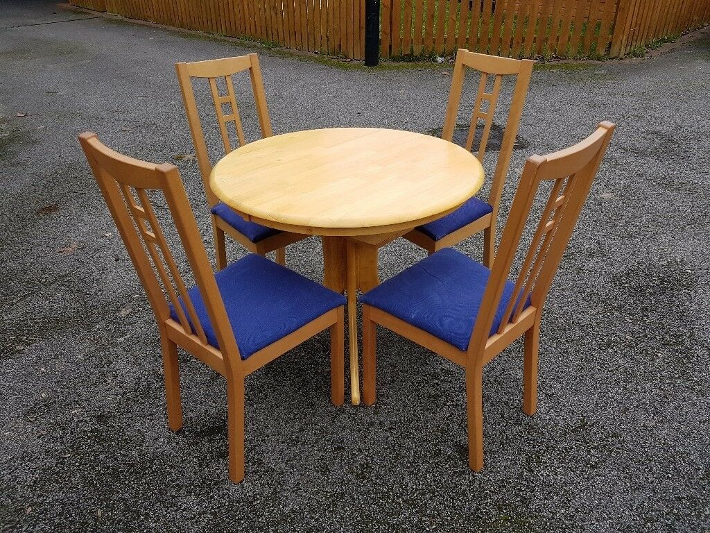 Small Round Oak Extending Table 4 Ikea Aaron Chairs Free Delivery 257