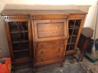 Vintage writing desk/bureau with draws and glass cupboards