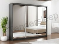 🔴BRAND NEW FURNITURE🔵-Lux 3 Door Sliding Full Mirror Wardrobe in White and Black Color