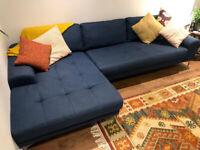 MADE .com Vittorio corner chaise fabric sofa, scuba blue, nearest offer