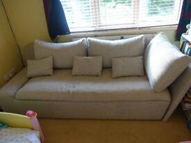 Silver and grey pin stripe sofa - Good condition