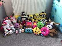 Huge Bundle Of Soft Plush Toys-Shopkins-Minions-TY-Horse Blanket *33 Items*