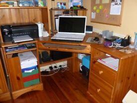 DESK - Corner Desk plus Shelves and Filing Drawers