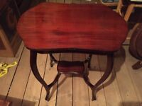 Antique occasional table, solid mahogany, with fitted glass top