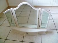Beautiful John Lewis three part dressing table mirror with drawer, beige