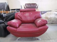 Red Single Sofa with Crome Legs
