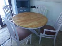 SHABBY CHIC PINE TABLE & 4 CHAIRS.