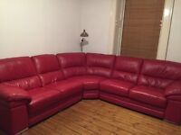 "Archibald's Red Italian Leather ""Aldo"" corner sofa - 1 year old"