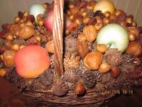 Vintage artificial fruit and assorted nuts and cones basket display piece home shop