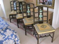 Set of 4 Chinese lacquer dining chairs