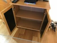 Small Oak Cabinet with black glass doors