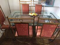 Dining Table Glass 6 Solid metal Chairs