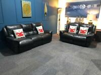 Now sold pending delivery Black leather recliner suite 3 seater sofa and 2 seater sofa