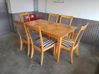 WOODEN Dining table + 6 dining chairs - free delivery