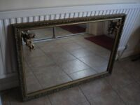"Large Ornate Rectangular Mirror with Two Cherubs 40"" x 28"""