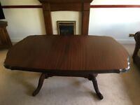 ROSSMORE MAHOGANY EXTENDING DINNING TABLE WITH EIGHT CHAIRS AND SHAPED PROTECTIVE COVER