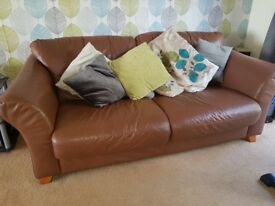 Brown/Tan Leather Sofa with Armchairs and Footstool.