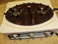 Cooker, portable double gas cooker with attachments, clean condition