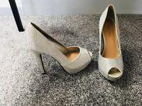 Sparkly silver peep toe stiletto