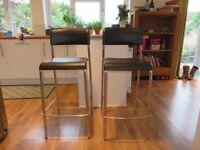 2x John Lewis bar stools - Black and chrome